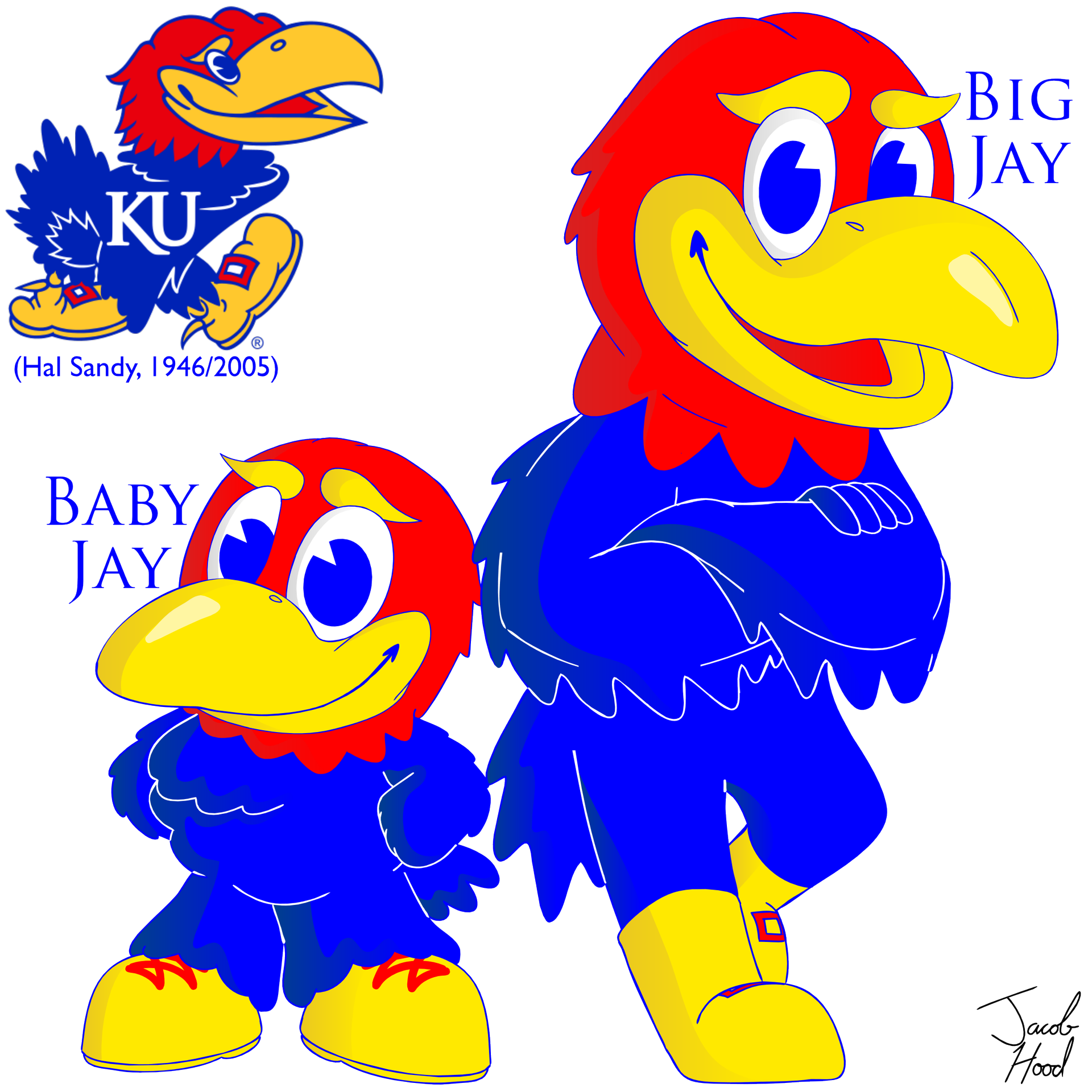 KU Big Jay & Baby Jay - University of Kansas Jayhawk Mascots (Hal Sandy, 1946/2005)